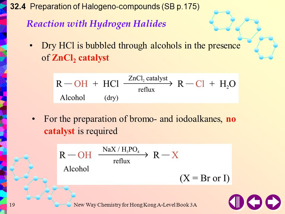 New Way Chemistry for Hong Kong A-Level Book 3A18 32.4 Preparation of Halogeno-compounds (SB p.175) Preparation of Haloalkanes Prepared by substitutin