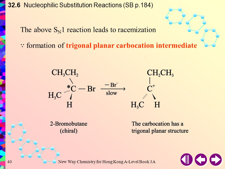 New Way Chemistry for Hong Kong A-Level Book 3A39 32.6 Nucleophilic Substitution Reactions (SB p.184) For some cations, different products may be form