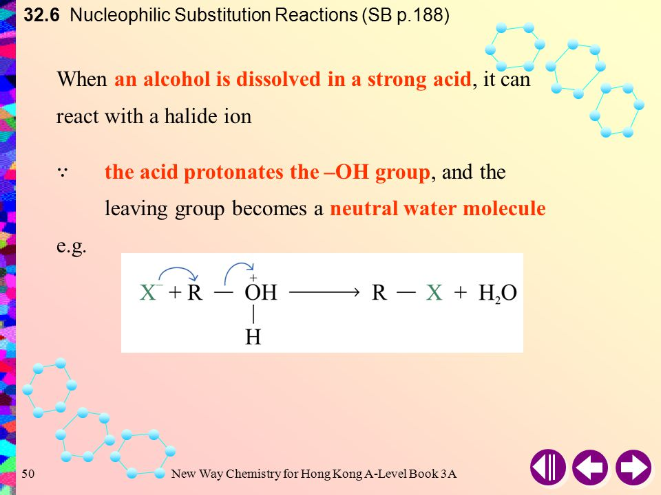 New Way Chemistry for Hong Kong A-Level Book 3A49 32.6 Nucleophilic Substitution Reactions (SB p.188) Uncharged or neutral compounds are better leaving groups e.g.The ease of leaving of oxygen compounds: H 2 O >> OH – > RO – Strongly basic ions rarely act as leaving group e.g.