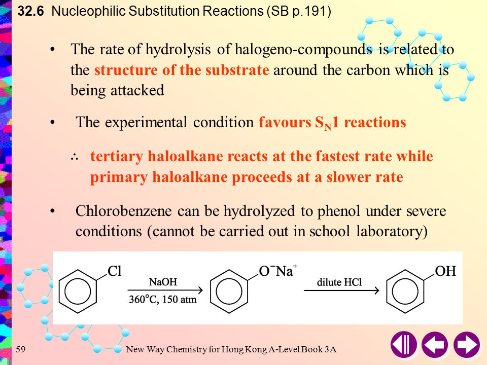 New Way Chemistry for Hong Kong A-Level Book 3A58 32.6 Nucleophilic Substitution Reactions (SB p.191) (d)Discussion The halogen-compounds used in the
