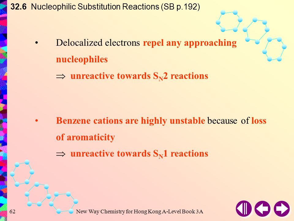 New Way Chemistry for Hong Kong A-Level Book 3A61 32.6 Nucleophilic Substitution Reactions (SB p.192) ∵ Delocalization of  electrons throughout the r
