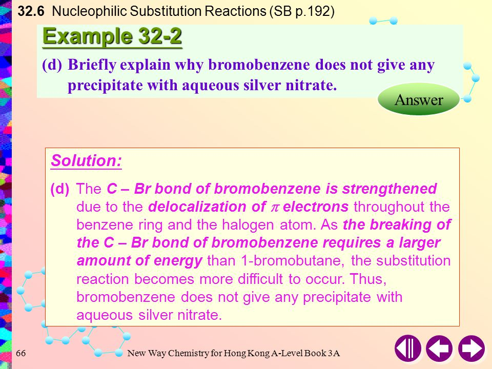 New Way Chemistry for Hong Kong A-Level Book 3A65 Example 32-2 (c)Why does silver nitrate produce no immediate precipitate with 1-bromobutane, even th