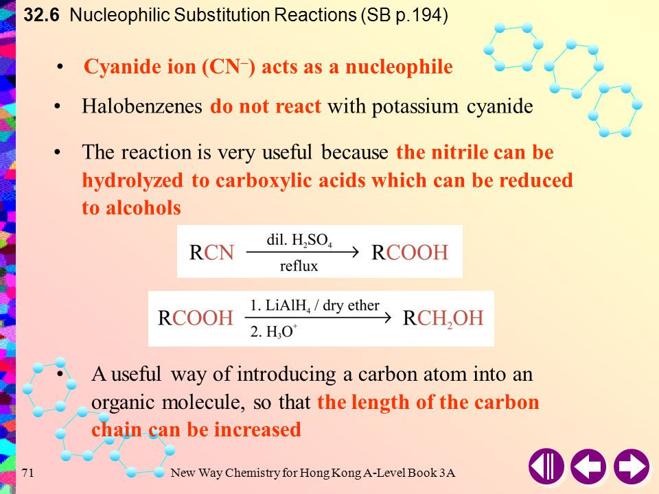 New Way Chemistry for Hong Kong A-Level Book 3A70 Reaction with Potassium Cyanide e.g. 32.6 Nucleophilic Substitution Reactions (SB p.194) A nitrile i