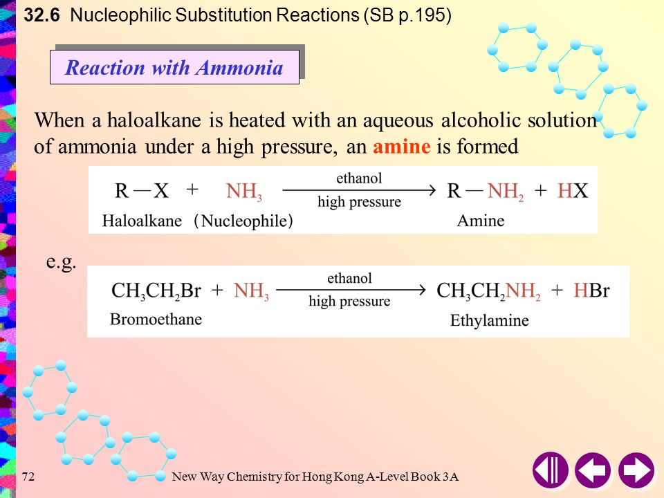 New Way Chemistry for Hong Kong A-Level Book 3A71 Cyanide ion (CN – ) acts as a nucleophile 32.6 Nucleophilic Substitution Reactions (SB p.194) Halobe