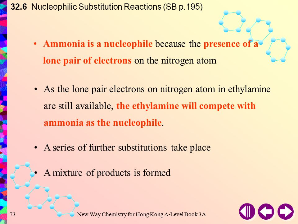 New Way Chemistry for Hong Kong A-Level Book 3A72 Reaction with Ammonia 32.6 Nucleophilic Substitution Reactions (SB p.195) When a haloalkane is heated with an aqueous alcoholic solution of ammonia under a high pressure, an amine is formed e.g.