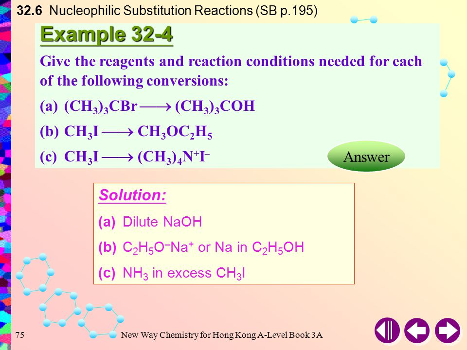 New Way Chemistry for Hong Kong A-Level Book 3A74 32.6 Nucleophilic Substitution Reactions (SB p.195) The reaction stops at the formation of a quaternary ammonium salt The competing reactions can be minimized by using an excess of ammonia