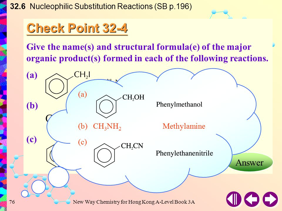 New Way Chemistry for Hong Kong A-Level Book 3A75 Example 32-4 Give the reagents and reaction conditions needed for each of the following conversions: (a)(CH 3 ) 3 CBr  (CH 3 ) 3 COH (b)CH 3 I  CH 3 OC 2 H 5 (c)CH 3 I  (CH 3 ) 4 N + I – Answer 32.6 Nucleophilic Substitution Reactions (SB p.195) Solution: (a)Dilute NaOH (b)C 2 H 5 O – Na + or Na in C 2 H 5 OH (c)NH 3 in excess CH 3 I