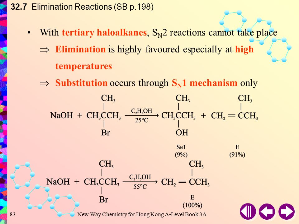 New Way Chemistry for Hong Kong A-Level Book 3A82 Substitution is favoured when the substrate is primary alcohol and the base is hydroxide ion 32.7 El