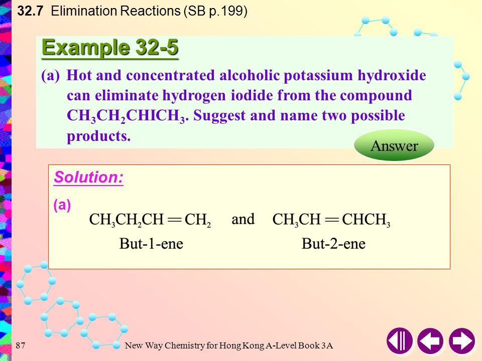 New Way Chemistry for Hong Kong A-Level Book 3A86 Formation of Alkynes 32.7 Elimination Reactions (SB p.199) Alkynes can be produced by dehydrohalogenation of dihaloalkanes Two molecules of hydrogen halides are eliminated e.g.