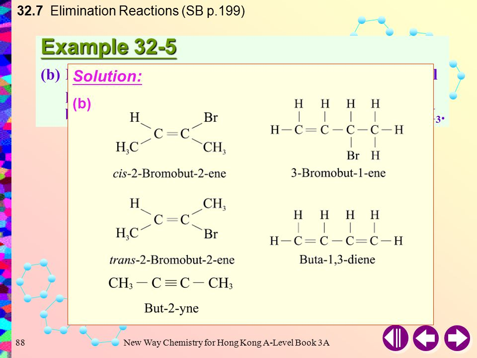 New Way Chemistry for Hong Kong A-Level Book 3A87 Example 32-5 (a)Hot and concentrated alcoholic potassium hydroxide can eliminate hydrogen iodide from the compound CH 3 CH 2 CHICH 3.