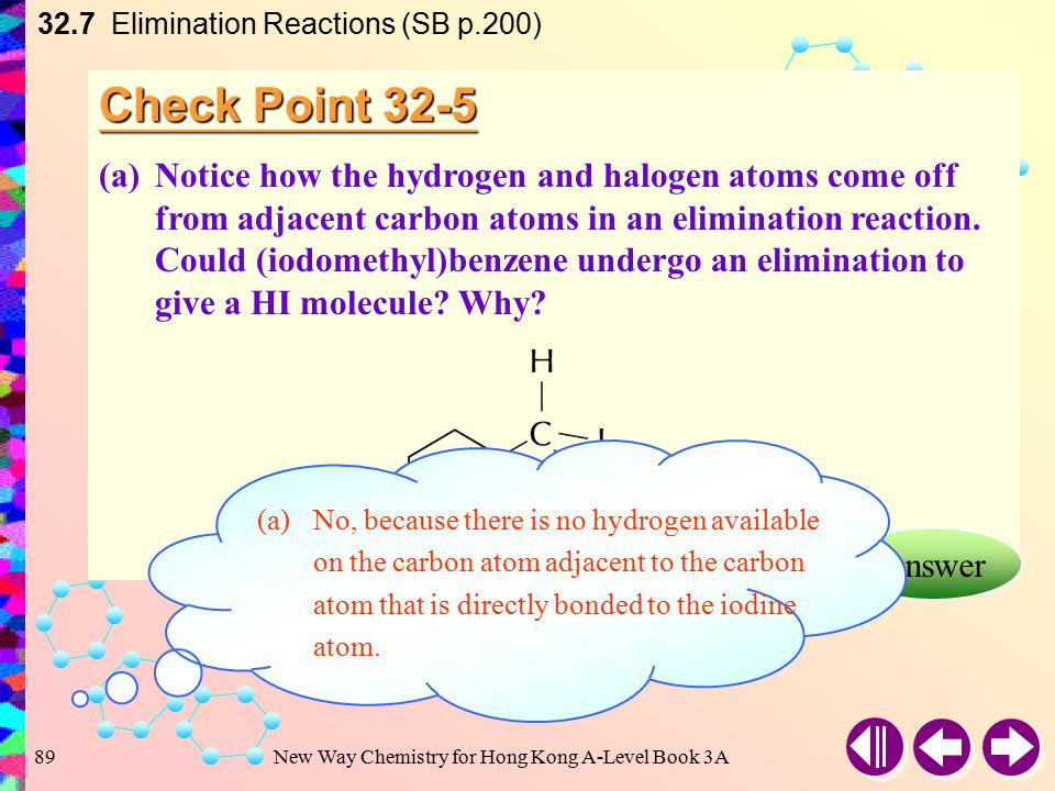 New Way Chemistry for Hong Kong A-Level Book 3A88 Example 32-5 (b)Draw the structural formulae and give the names of all possible products formed by elimination of hydrogen bromide from the dibromoalkane, CH 3 CHBrCHBrCH 3.