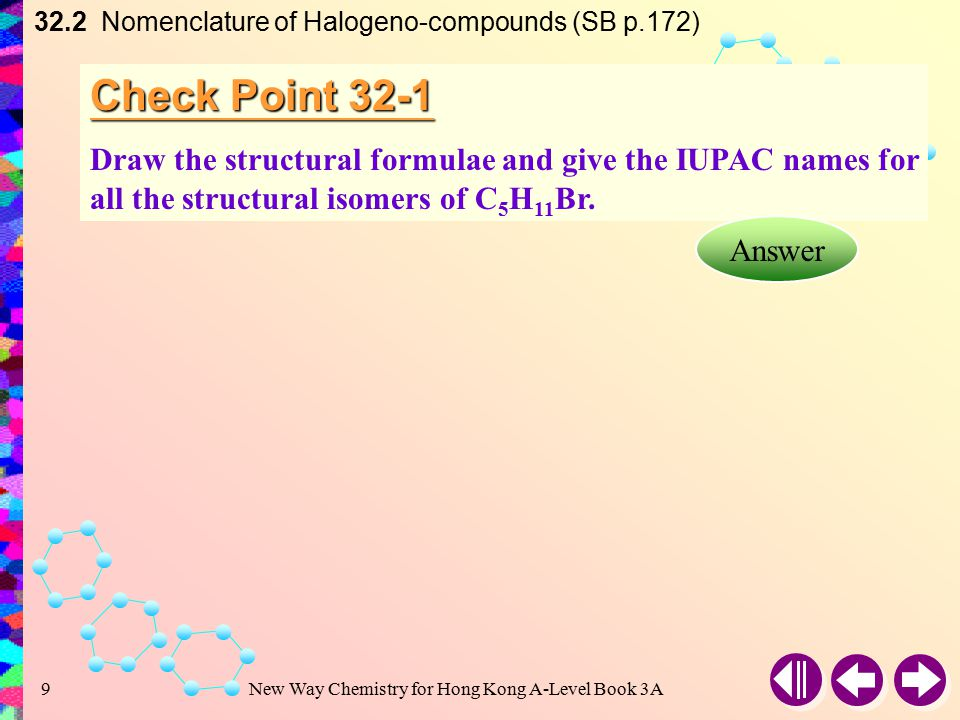 New Way Chemistry for Hong Kong A-Level Book 3A8 Example 32-1 Draw the structural formulae and give the IUPAC names of all isomers with the following