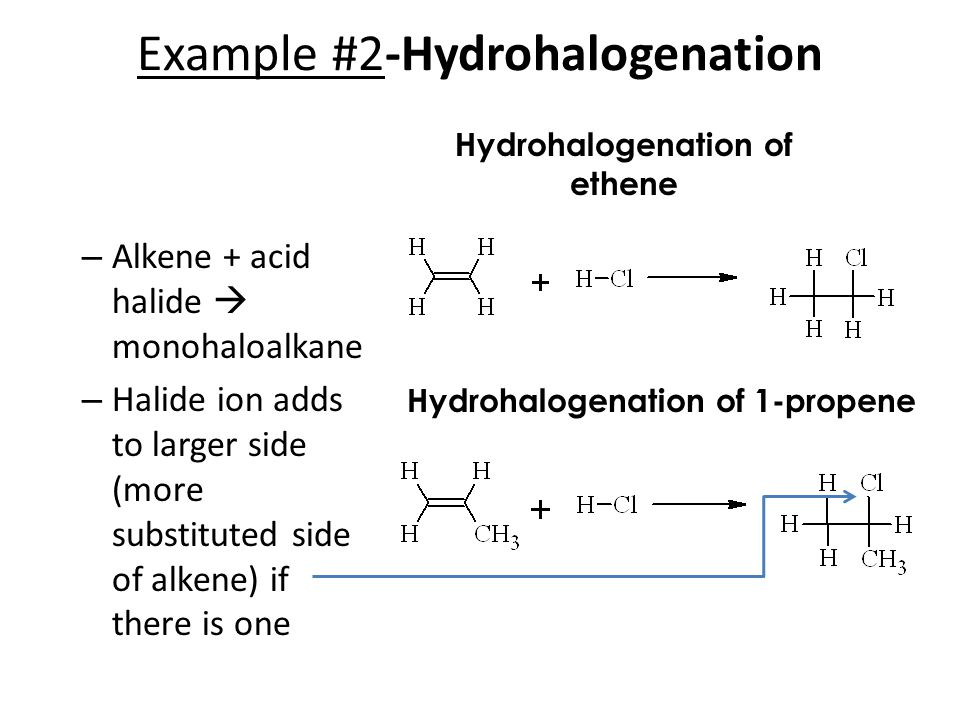 Example #2-Hydrohalogenation – Alkene + acid halide  monohaloalkane – Halide ion adds to larger side (more substituted side of alkene) if there is one Hydrohalogenation of ethene Hydrohalogenation of 1-propene
