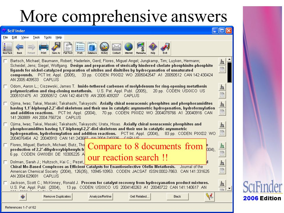 Compare to 8 documents from our reaction search !! More comprehensive answers
