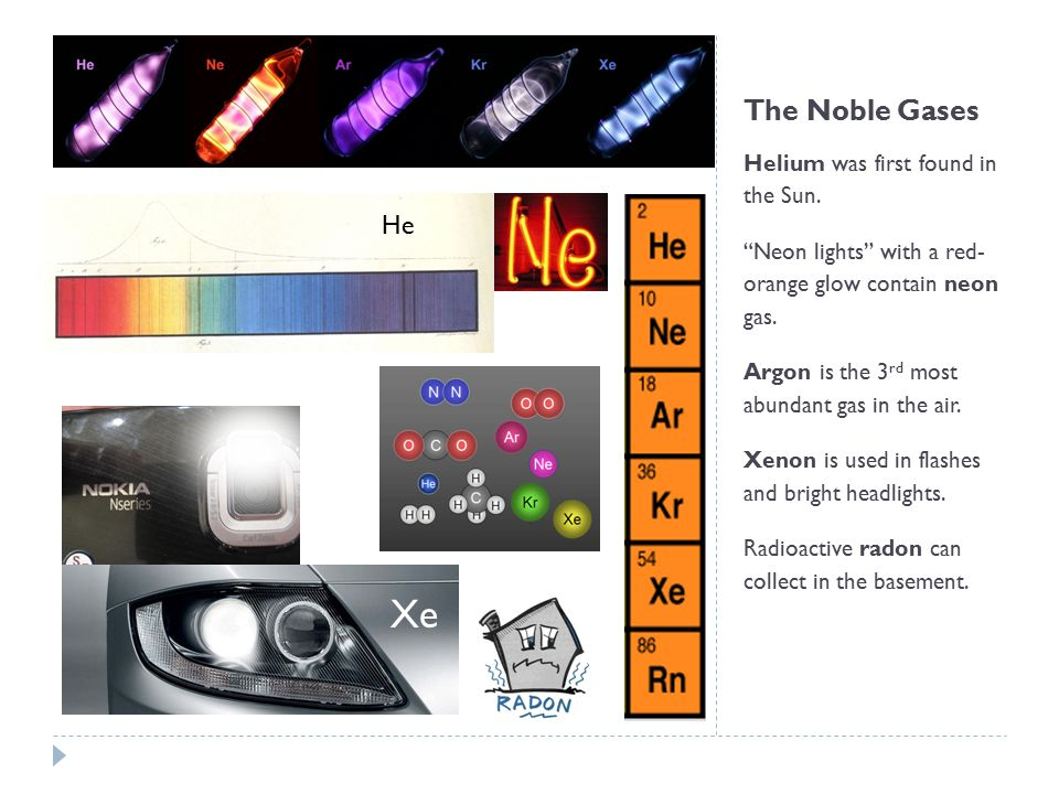 "The Noble Gases Helium was first found in the Sun. ""Neon lights"" with a red- orange glow contain neon gas. Argon is the 3 rd most abundant gas in the"