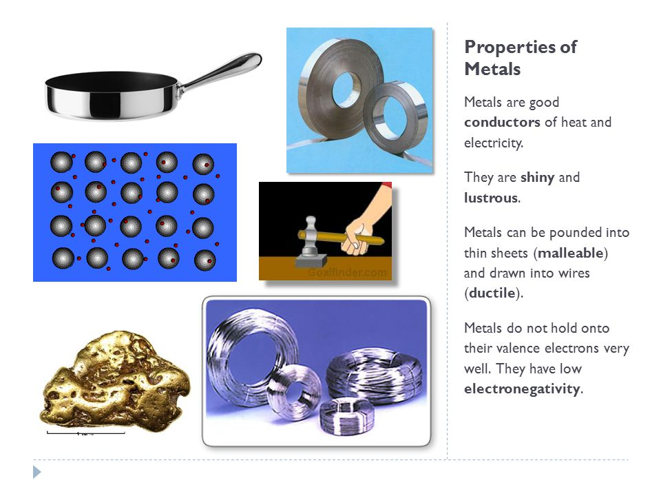 Properties of Metals Metals are good conductors of heat and electricity. They are shiny and lustrous. Metals can be pounded into thin sheets (malleabl