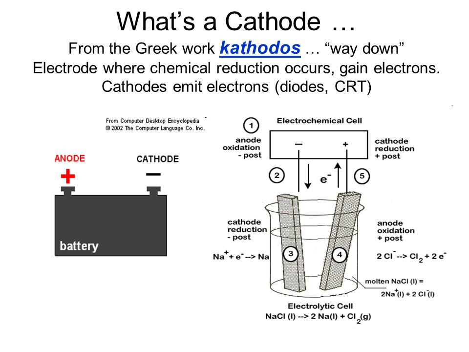 What's a Cathode … From the Greek work kathodos … way down Electrode where chemical reduction occurs, gain electrons.