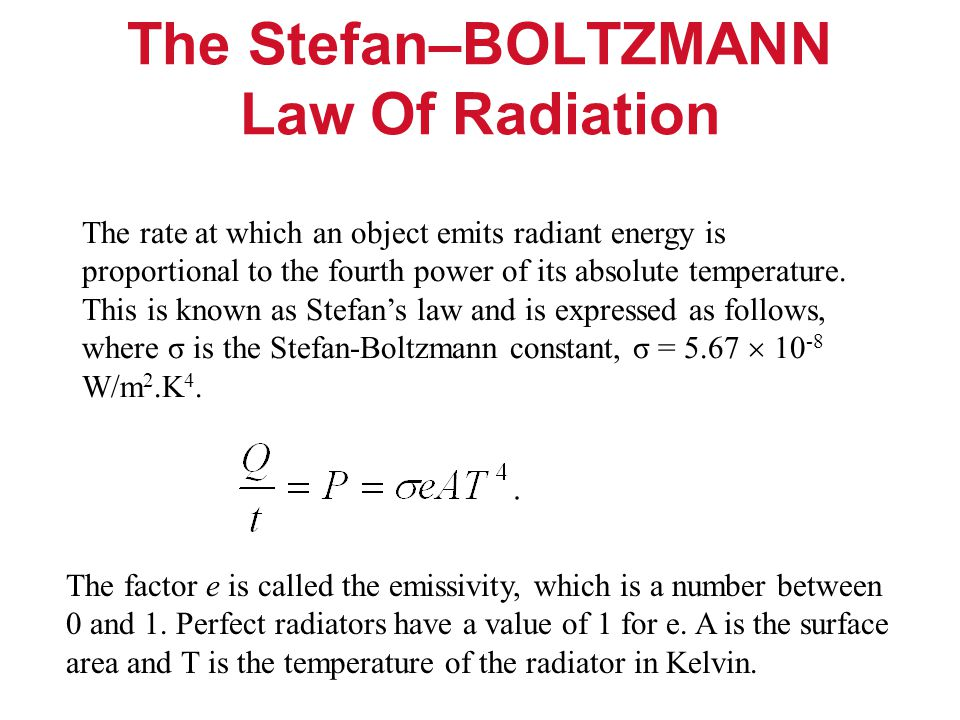 The Stefan–BOLTZMANN Law Of Radiation The rate at which an object emits radiant energy is proportional to the fourth power of its absolute temperature.