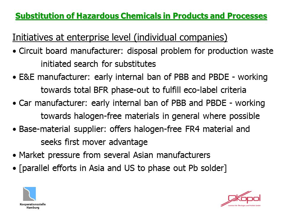 Kooperationsstelle Hamburg Substitution of Hazardous Chemicals in Products and Processes Initiatives at enterprise level (individual companies) Circui