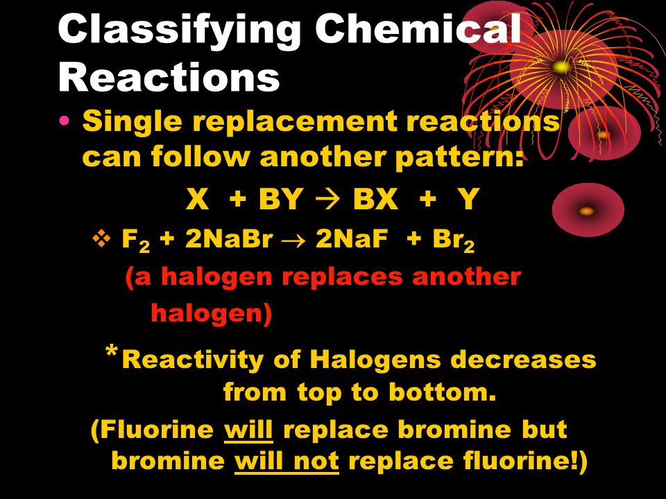 Classifying Chemical Reactions Single replacement reactions can follow another pattern: X + BY  BX + Y  F 2 + 2NaBr  2NaF + Br 2 (a halogen replaces another halogen) * Reactivity of Halogens decreases from top to bottom.