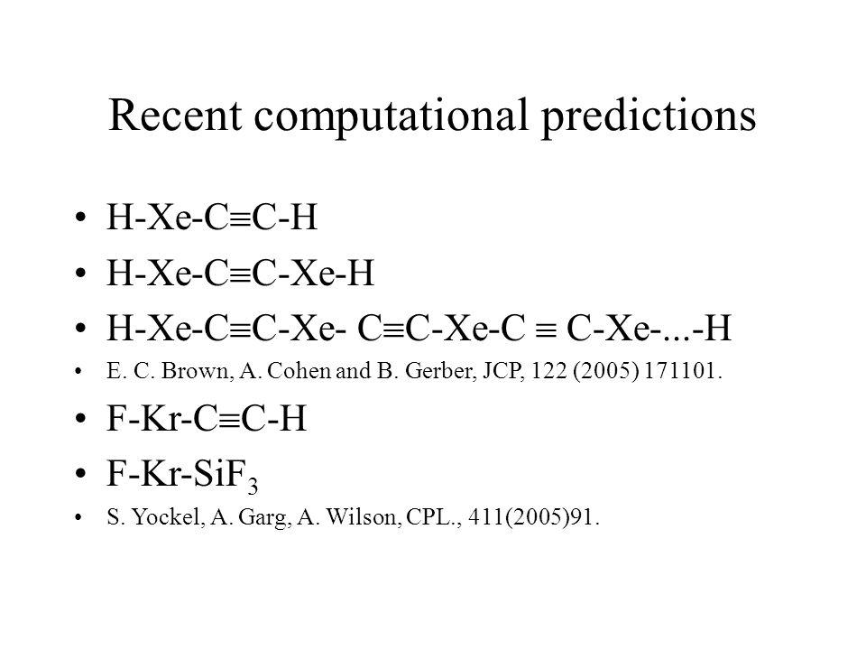 Recent computational predictions H-Xe-C  C-H H-Xe-C  C-Xe-H H-Xe-C  C-Xe- C  C-Xe-C  C-Xe-...-H E.