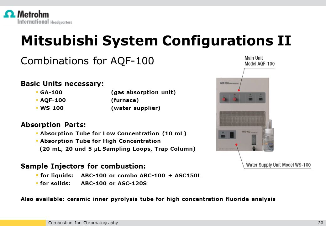 Combustion Ion Chromatography30 Mitsubishi System Configurations II Combinations for AQF-100 Basic Units necessary:  GA-100 (gas absorption unit)  A