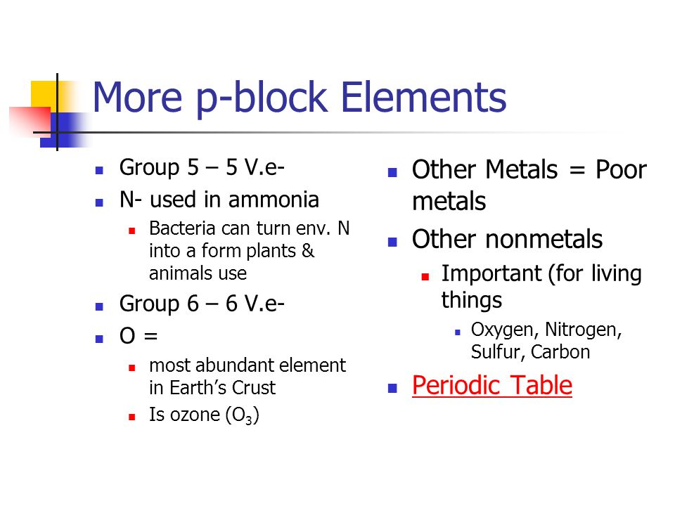 More p-block Elements Group 5 – 5 V.e- N- used in ammonia Bacteria can turn env.