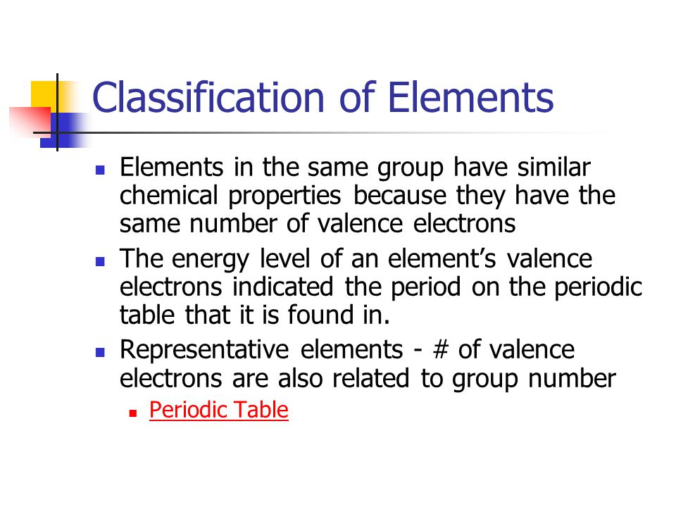 Classification of Elements Elements in the same group have similar chemical properties because they have the same number of valence electrons The energy level of an element's valence electrons indicated the period on the periodic table that it is found in.
