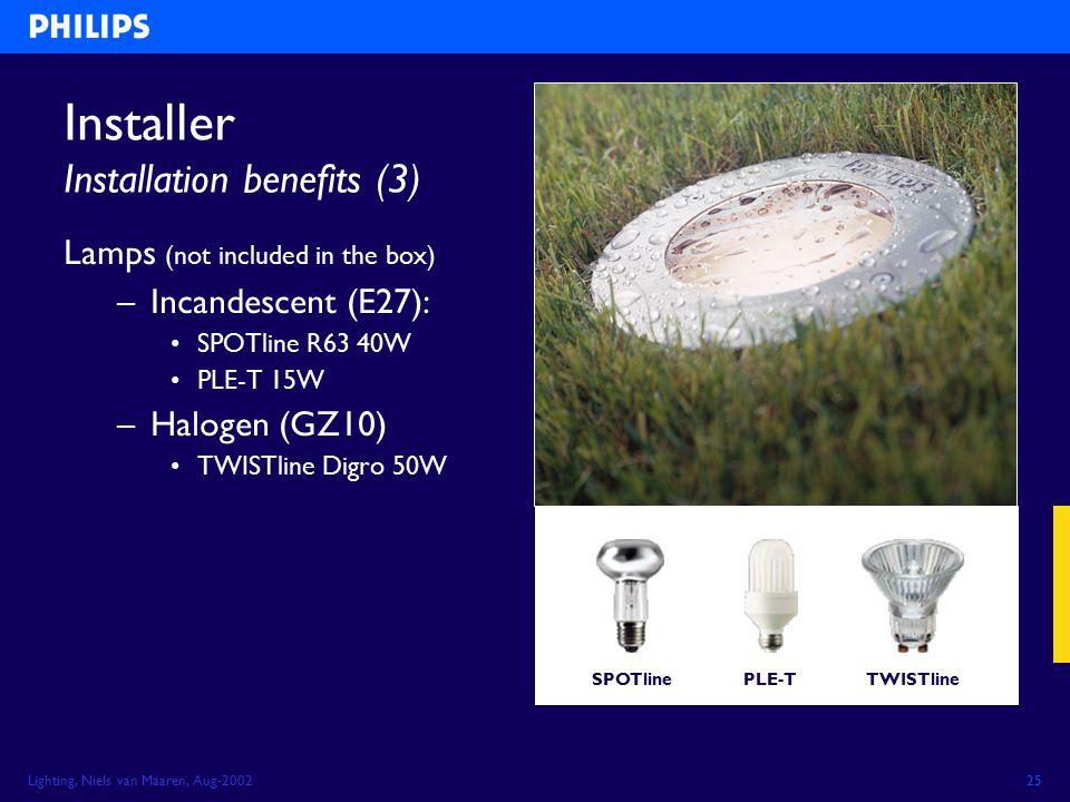 Lighting, Niels van Maaren, Aug-200225 Installer Installation benefits (3) Lamps (not included in the box) –Incandescent (E27): SPOTline R63 40W PLE-T 15W –Halogen (GZ10) TWISTline Digro 50W SPOTlineTWISTlinePLE-T