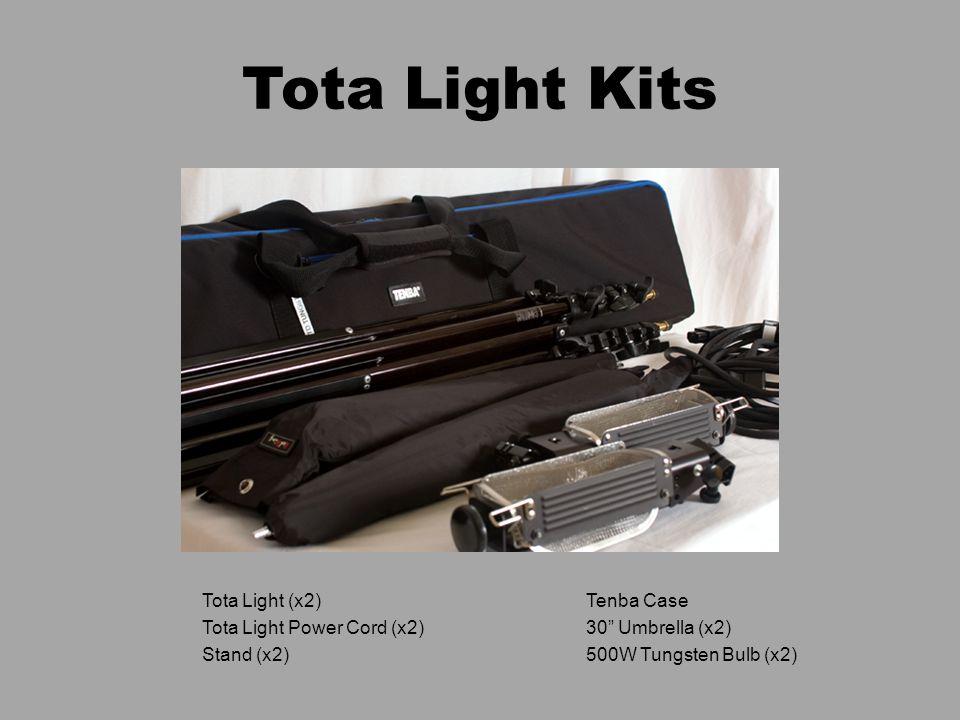 """Tota Light Kits Tota Light (x2)Tenba Case Tota Light Power Cord (x2)30"""" Umbrella (x2) Stand (x2)500W Tungsten Bulb (x2)"""