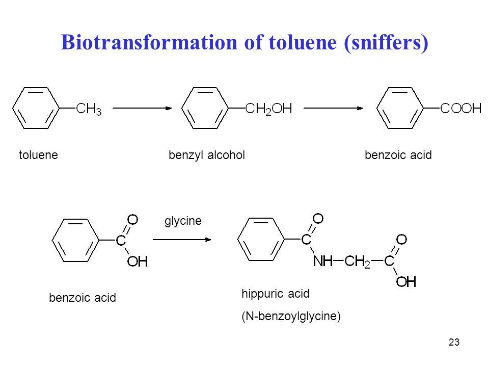 23 Biotransformation of toluene (sniffers) toluen benzylalkohol benzoová kys. toluenebenzyl alcoholbenzoic acid glycine hippuric acid (N-benzoylglycin