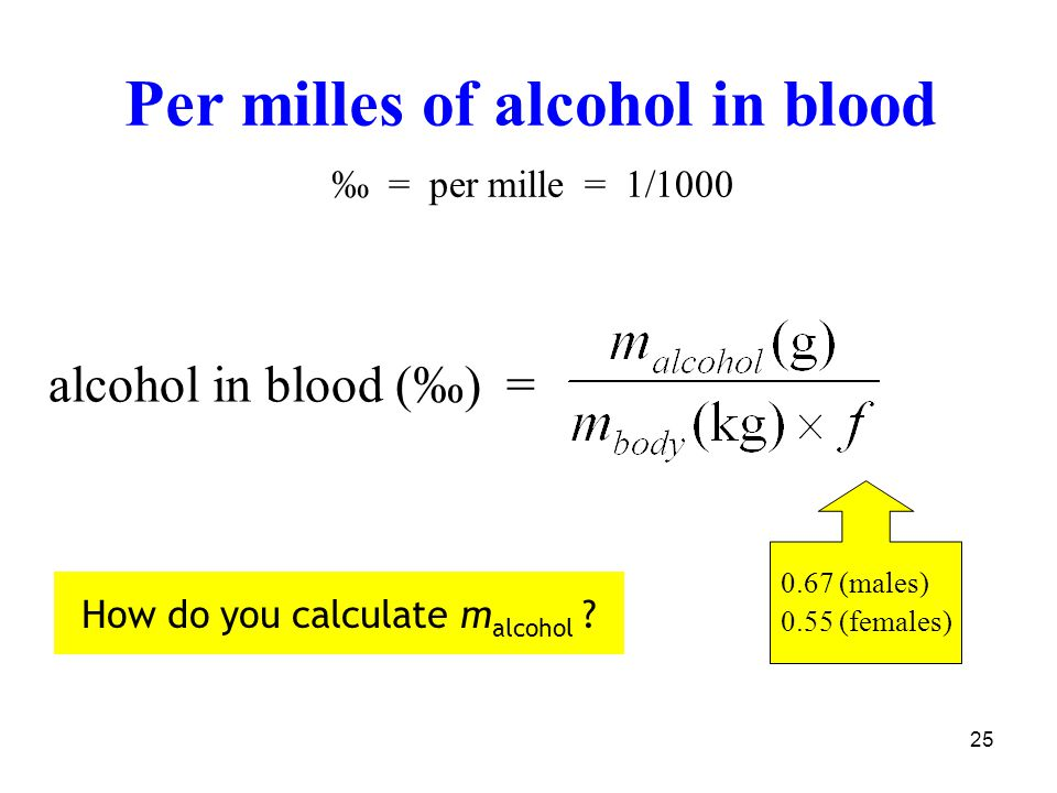 25 alcohol in blood (‰) = 0.67 (males) 0.55 (females) Per milles of alcohol in blood ‰ = per mille = 1/1000 How do you calculate m alcohol ?