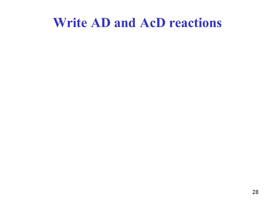 28 Write AD and AcD reactions