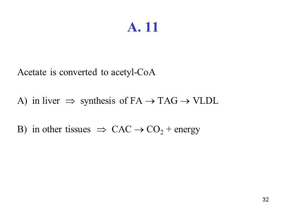 32 A. 11 Acetate is converted to acetyl-CoA A)in liver  synthesis of FA  TAG  VLDL B)in other tissues  CAC  CO 2 + energy