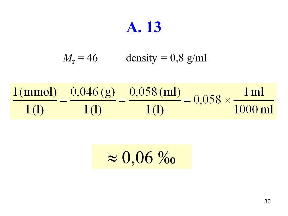 33  0,06 ‰ A. 13 M r = 46 density = 0,8 g/ml