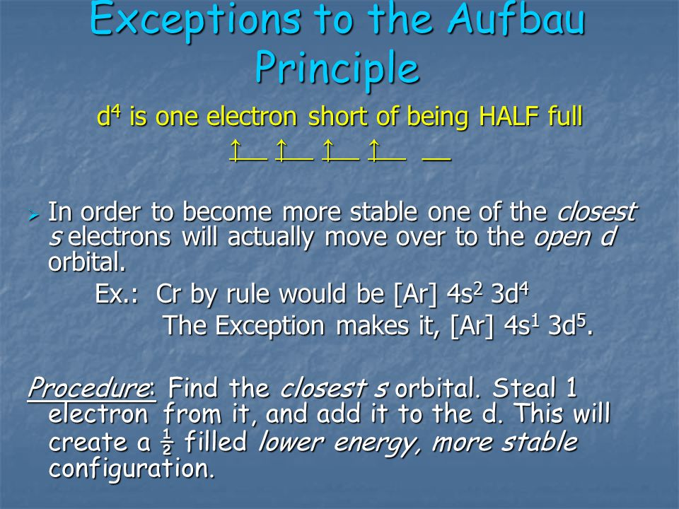 Exceptions to the Aufbau Principle  Chemistry wouldn't be any fun if it didn't throw you a curve ball every now and then.  Some Atoms break the rule