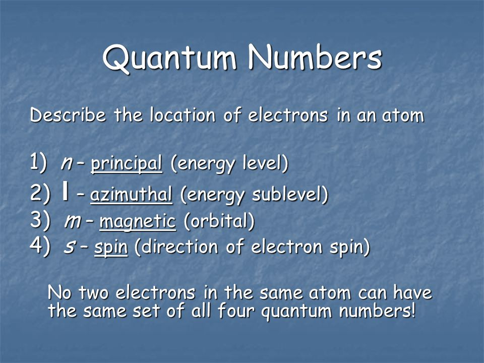 Quantum Numbers The Final address of the e - The zip code of the electron!
