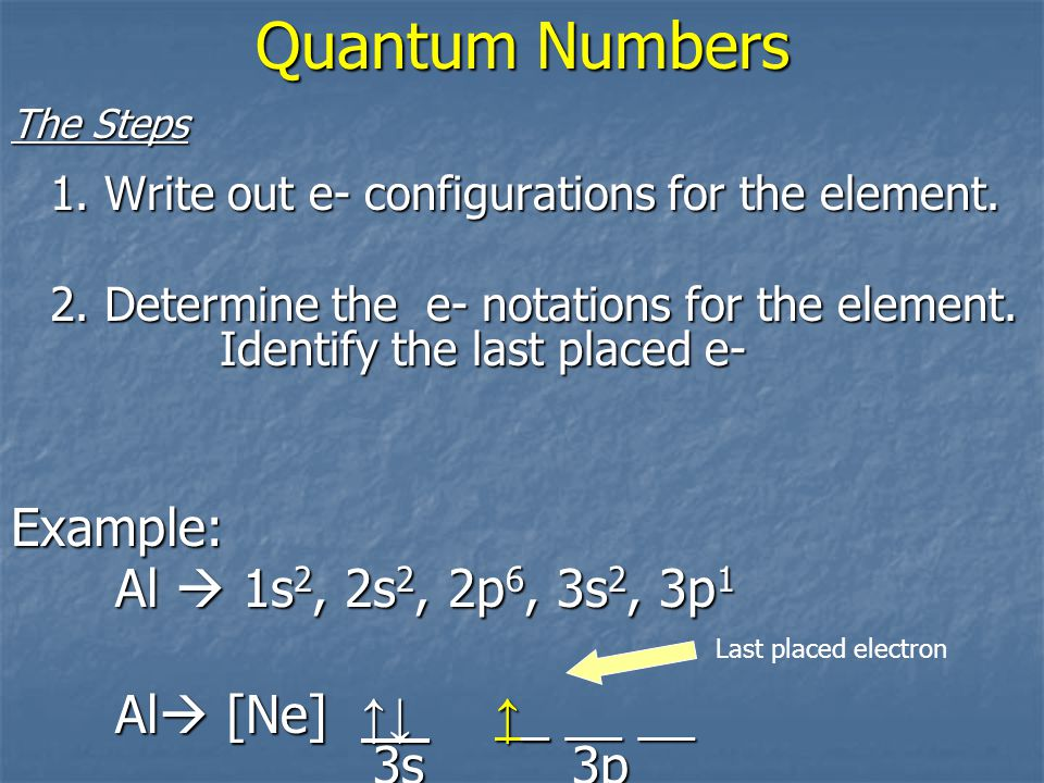 Quantum Numbers What are the quantum numbers of the last electron placed on Aluminum.