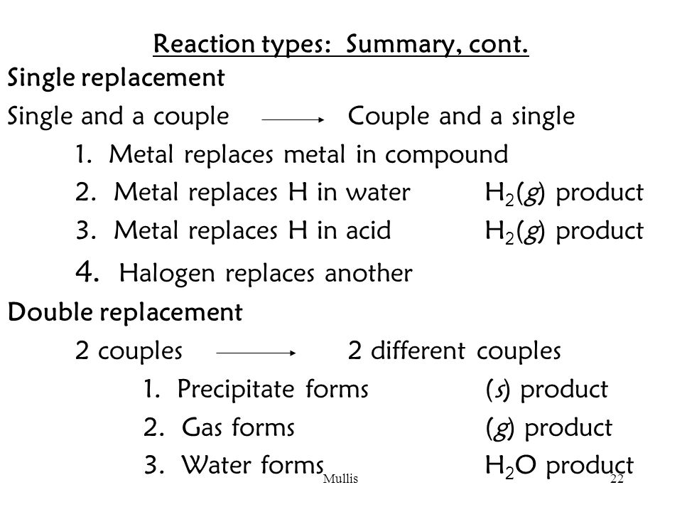 Mullis22 Reaction types: Summary, cont.