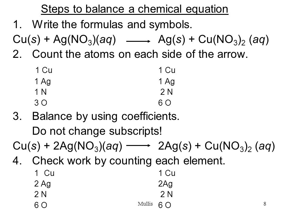 Mullis8 Steps to balance a chemical equation 1.Write the formulas and symbols.