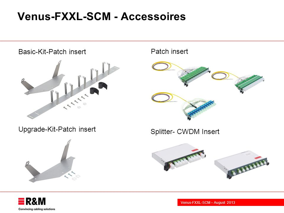 Venus-FXXL-SCM – August 2013 Venus-FXXL-SCM - Accessoires Upgrade-Kit-Patch insert Splitter- CWDM Insert Basic-Kit-Patch insert Patch insert