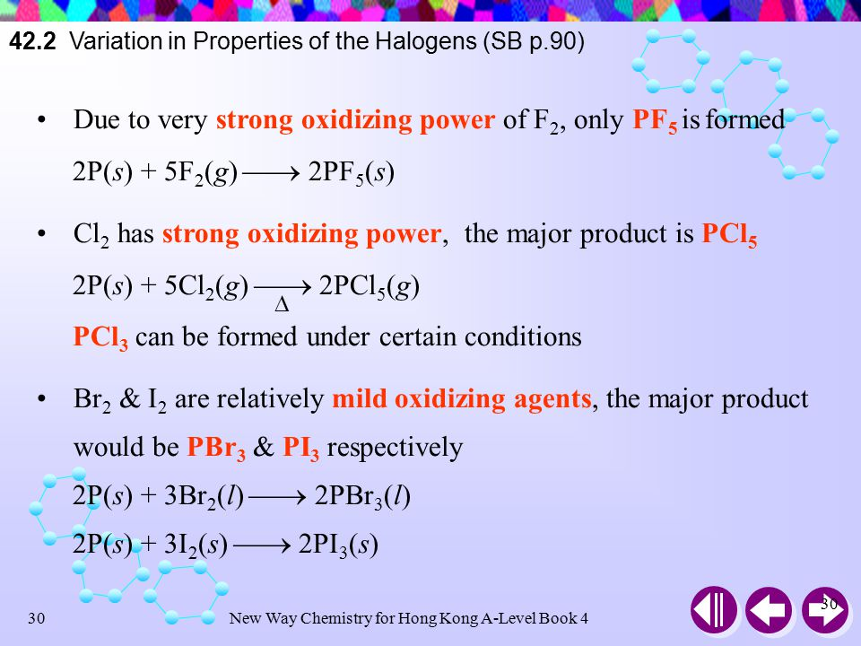 New Way Chemistry for Hong Kong A-Level Book 429 42.2 Variation in Properties of the Halogens (SB p.90) Reaction with Phosphorus All halogens react with red phosphorus As P has low-lying vacant 3d orbitals, the compound formed can have more than 8 electrons in the outermost shell P can form PX 3 and PX 5 depending on the oxidation power of X 2