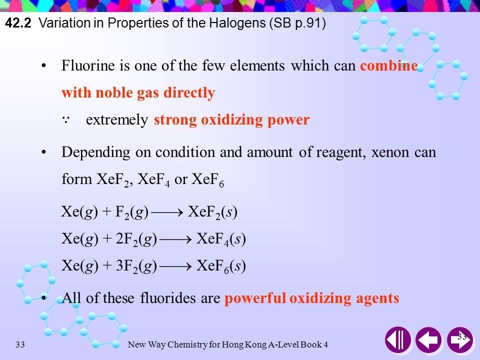 New Way Chemistry for Hong Kong A-Level Book 432 42.2 Variation in Properties of the Halogens (SB p.91) The above reactions show that fluorine is the most electronegative and most reactive element among halogens  React readily with all substances and bring out the highest oxidation state of other elements in the product The relative oxidizing power: F 2 > Cl 2 > Br 2 > I 2
