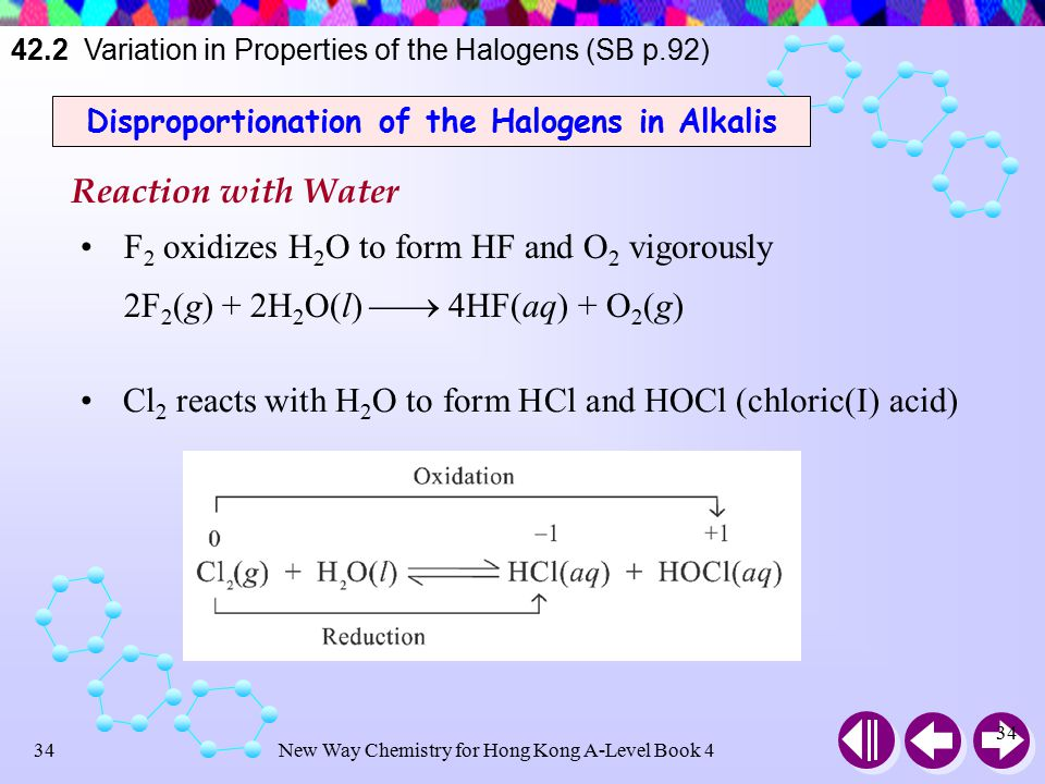 New Way Chemistry for Hong Kong A-Level Book 433 Fluorine is one of the few elements which can combine with noble gas directly ∵ extremely strong oxidizing power Depending on condition and amount of reagent, xenon can form XeF 2, XeF 4 or XeF 6 Xe(g) + F 2 (g)  XeF 2 (s) Xe(g) + 2F 2 (g)  XeF 4 (s) Xe(g) + 3F 2 (g)  XeF 6 (s) All of these fluorides are powerful oxidizing agents 42.2 Variation in Properties of the Halogens (SB p.91)