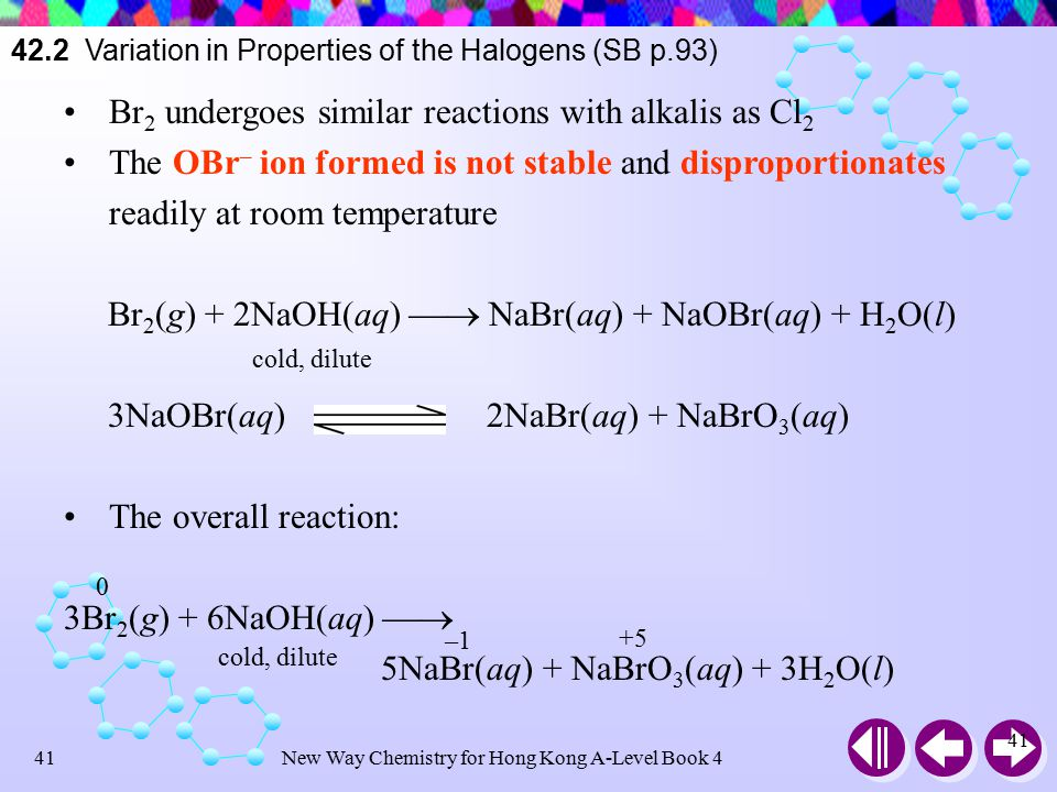 New Way Chemistry for Hong Kong A-Level Book 440 42.2 Variation in Properties of the Halogens (SB p.93) Cl 2 react with cold and dilute NaOH, NaCl and NaOCl are formed Cl 2 (g) + 2NaOH(aq)  NaCl(aq) + NaOCl(aq) + H 2 O(l) Cl 2 reacts with hot and conc.