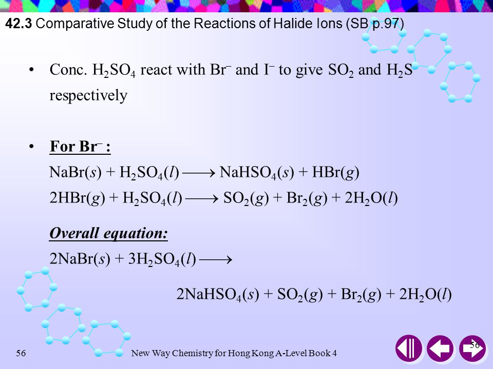 New Way Chemistry for Hong Kong A-Level Book 455 Concentrated sulphuric(VI) acid : an oxidizing acid  Exhibit oxidizing and acidic properties Conc.