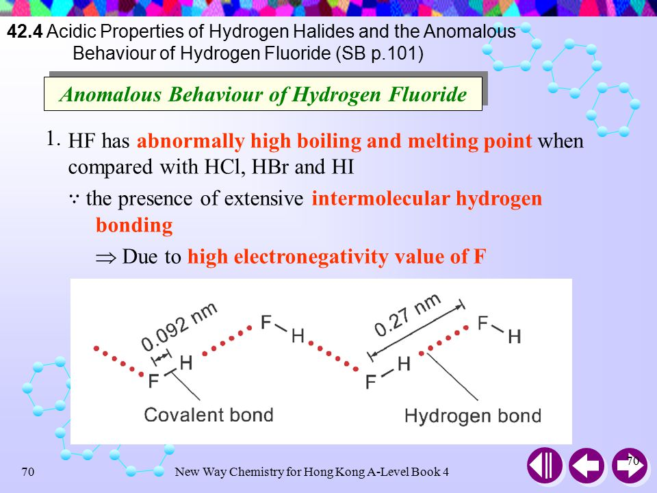 New Way Chemistry for Hong Kong A-Level Book 469 42.4 Acidic Properties of Hydrogen Halides and the Anomalous Behaviour of Hydrogen Fluoride (SB p.101) Acidic Properties of Hydrogen Halides Hydrogen halide Acid dissociation constant, K a (mol dm –3 ) Degree of dissociation in 0.1 M solution (%) HF HCl HBr HI 7  10 –4 1  10 7 1  10 9 1  10 11 8.5 92 93 95 Larger dissociation constant, greater the acidic strength Acidic strength of HX : HI > HBr > HCl >> HF HX dissolve in aqueous solvents for form acidic solutions HX(g) + H 2 O(l)H 3 O + (aq) + X – (aq)