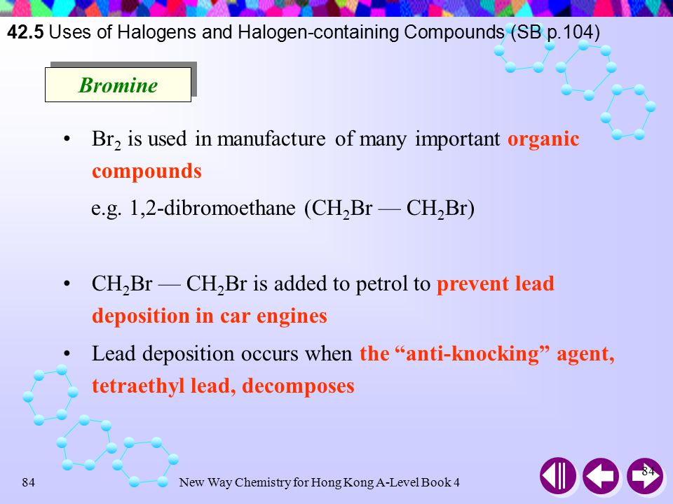 New Way Chemistry for Hong Kong A-Level Book 483 Chlorine is important in manufacture of industrial and domestic bleaches Cl reacts with NaOH to give chlorine bleach Cl 2 (g) + NaOH(aq)  NaCl(aq) + NaOCl(aq) + H 2 O(l) The OCl – is responsible for the bleaching action Chlorine is used to sterilize water for domestic and industrial use, and also for swimming pools 42.5 Uses of Halogens and Halogen-containing Compounds (SB p.104)