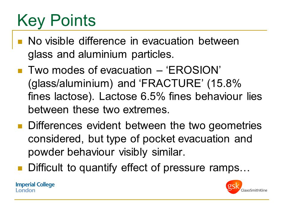 Key Points No visible difference in evacuation between glass and aluminium particles. Two modes of evacuation – 'EROSION' (glass/aluminium) and 'FRACT