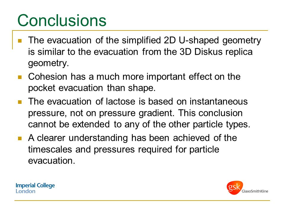 Conclusions The evacuation of the simplified 2D U-shaped geometry is similar to the evacuation from the 3D Diskus replica geometry.